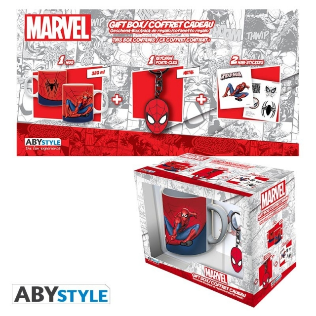 Caneca Gift Box MARVEL Spider-man (320ml) + Porta-Chaves + Autocolantes