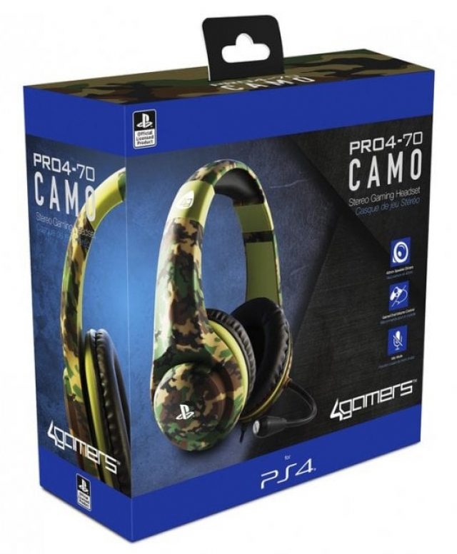 AUSCULTADORES GAMING Oficiais 4GAMERS PRO4-70 Camo PS4