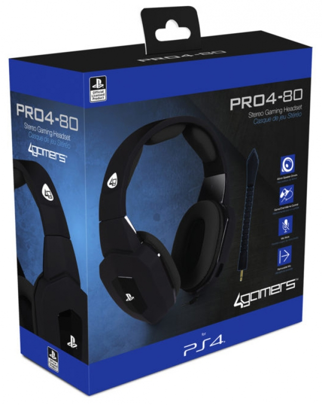AUSCULTADORES GAMING Oficiais 4GAMERS PRO4-80 Pretos PS4