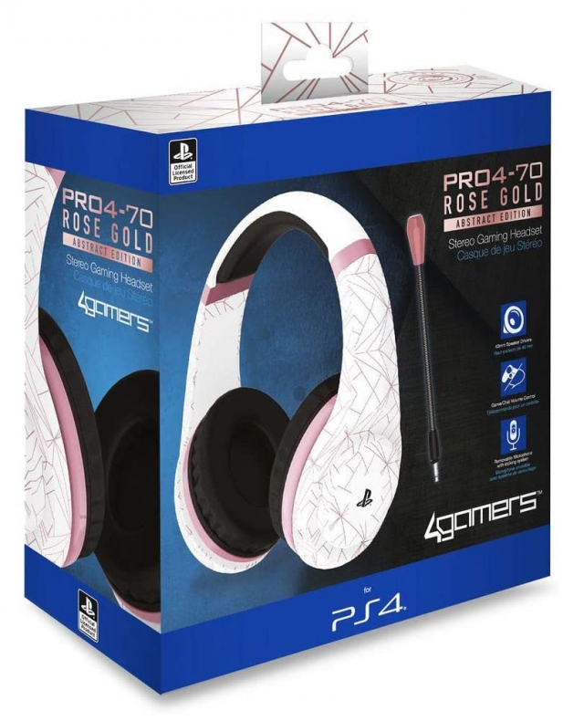 AUSCULTADORES GAMING Oficiais 4GAMERS PRO4-70 Rose Gold PS4